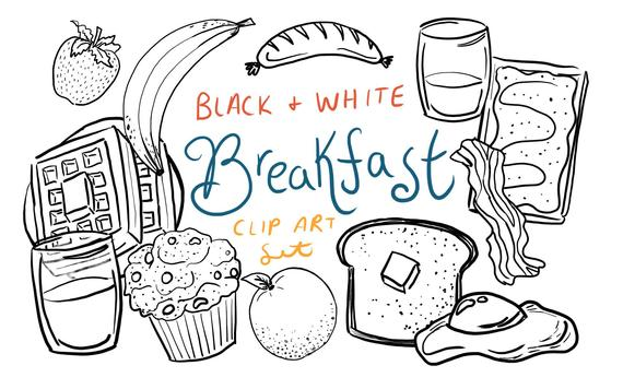 Black and White Breakfast Clip Art, hand drawn breakfast clip art, hand  drawn clip art, commercial use clip art, brunch clip art.