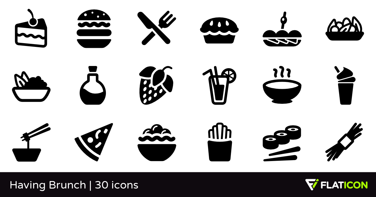 Having Brunch 30 free icons (SVG, EPS, PSD, PNG files).