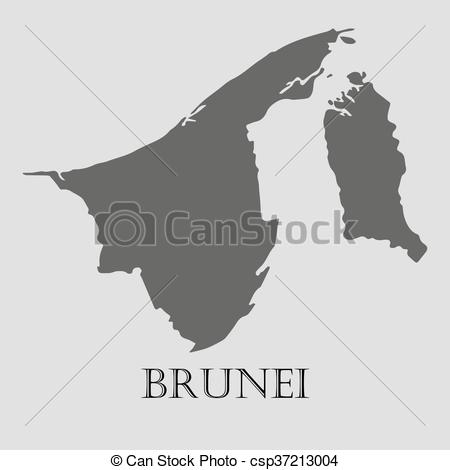 Vector Clipart of Black Brunei map.