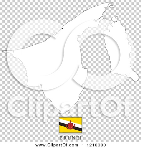 Clipart of a Brunei Flag And Map Outline.