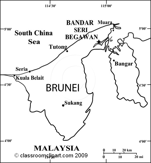 Brunei Map Clipart.