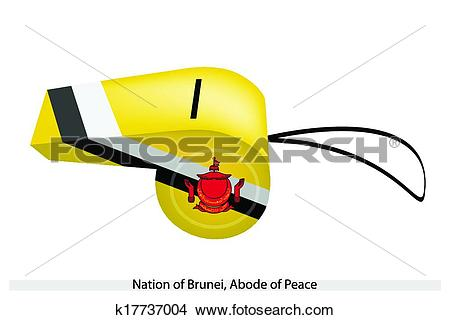 Clipart of Yellow, Black and White Colors of Brunei Whistle.
