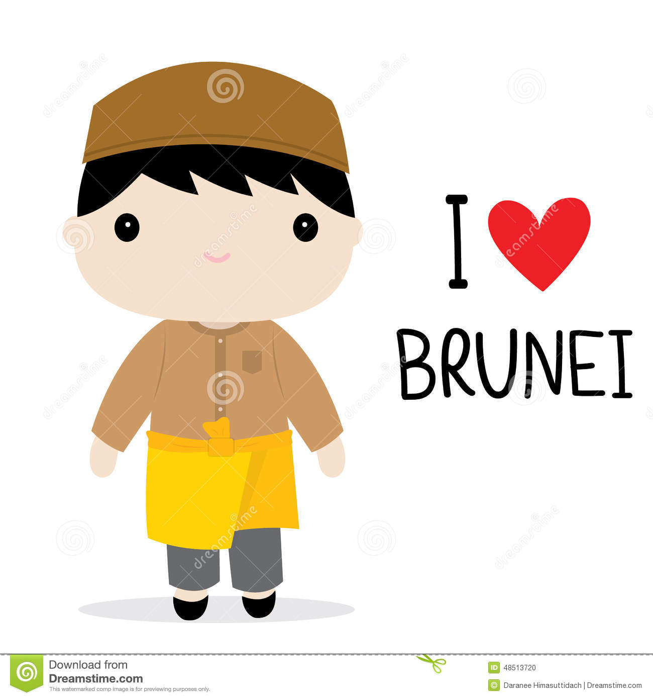 Brunei Men National Dress Cartoon Vector Stock Vector.