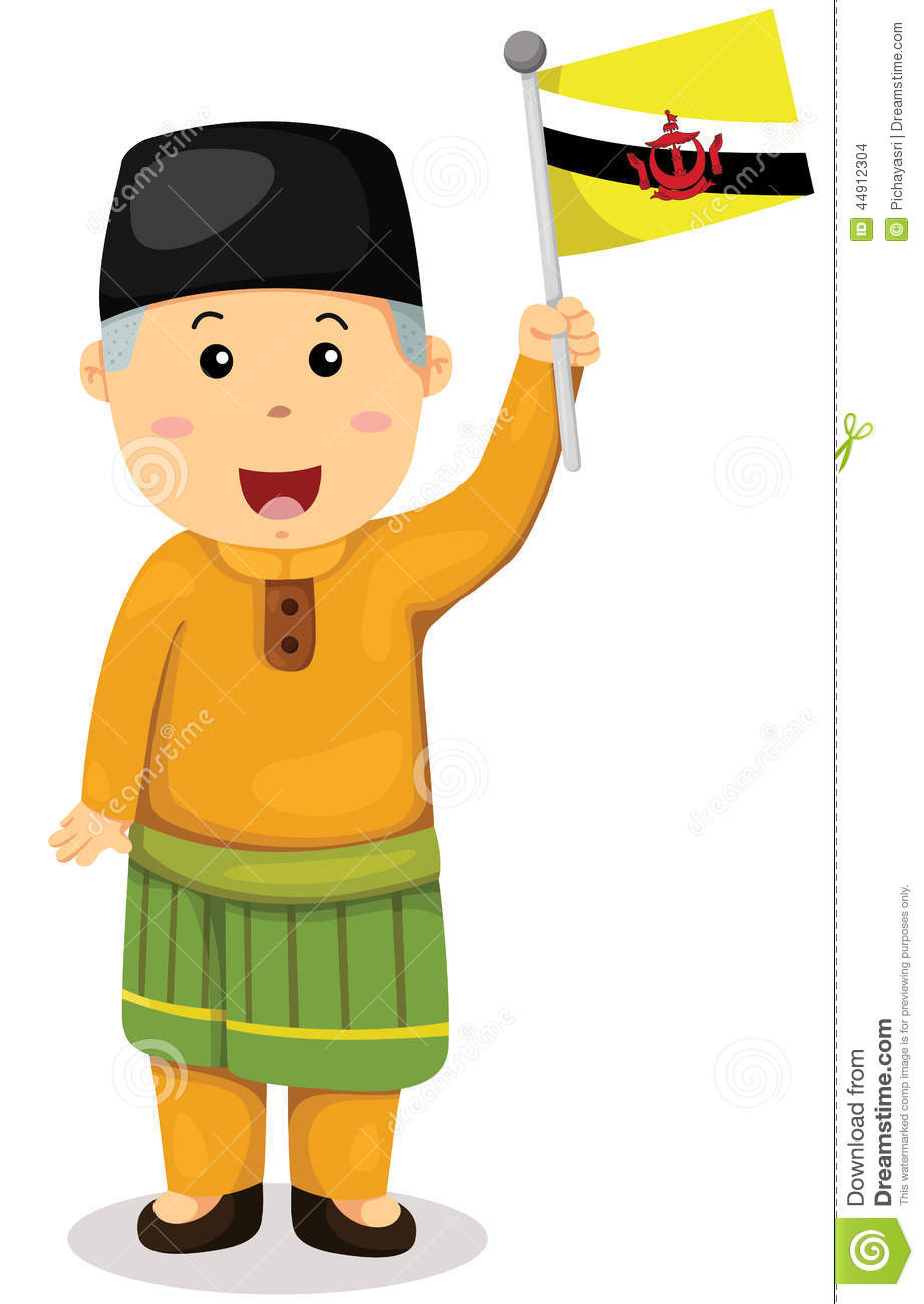 Cute Brunei Man In Traditional Clothes Stock Vector.