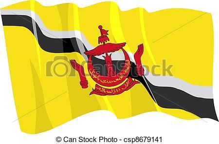 Vector Clip Art of Political waving flag of Brunei csp8679141.
