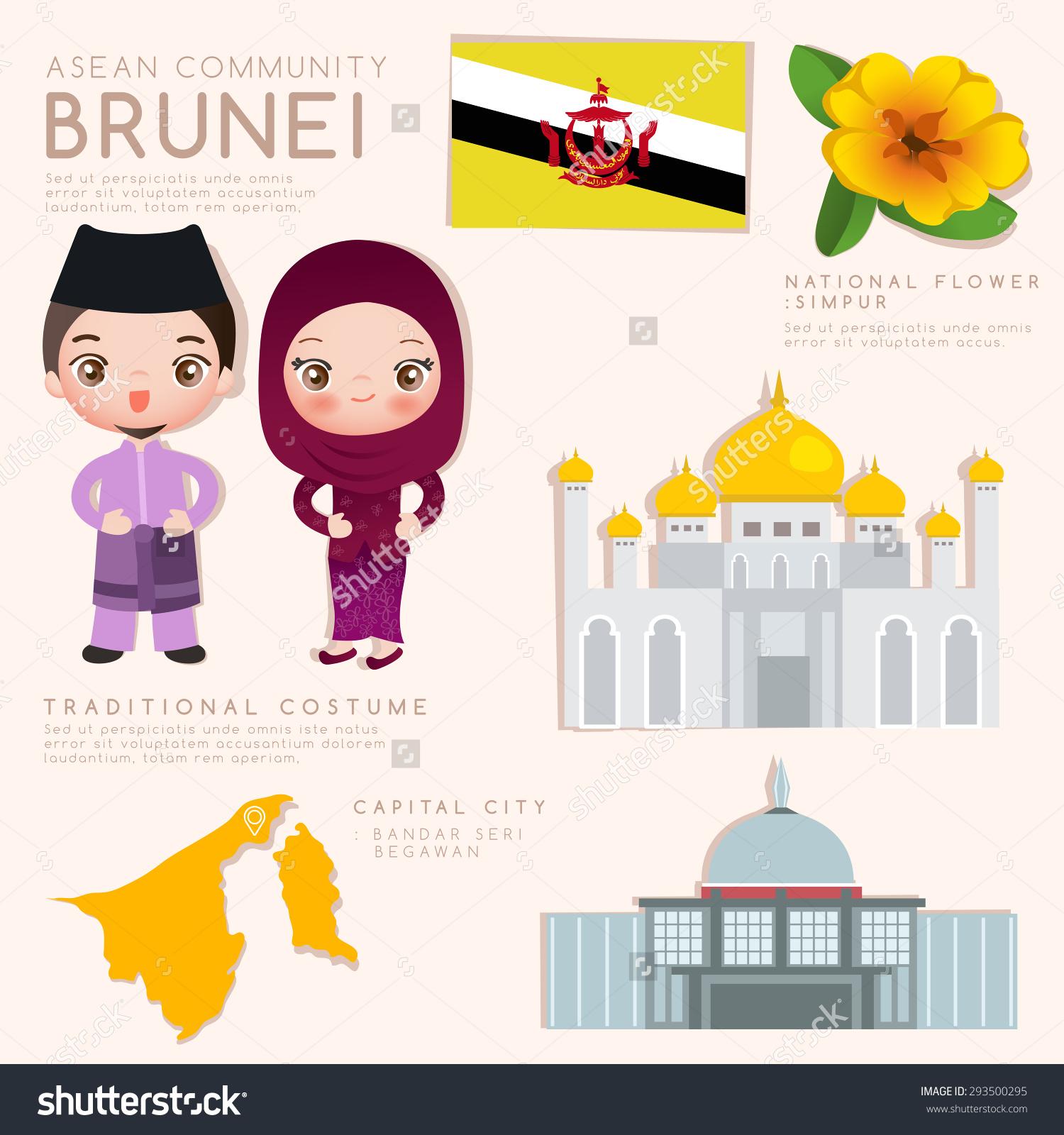 Brunei Asean Economic Community Aec Infographic Stock Vector.