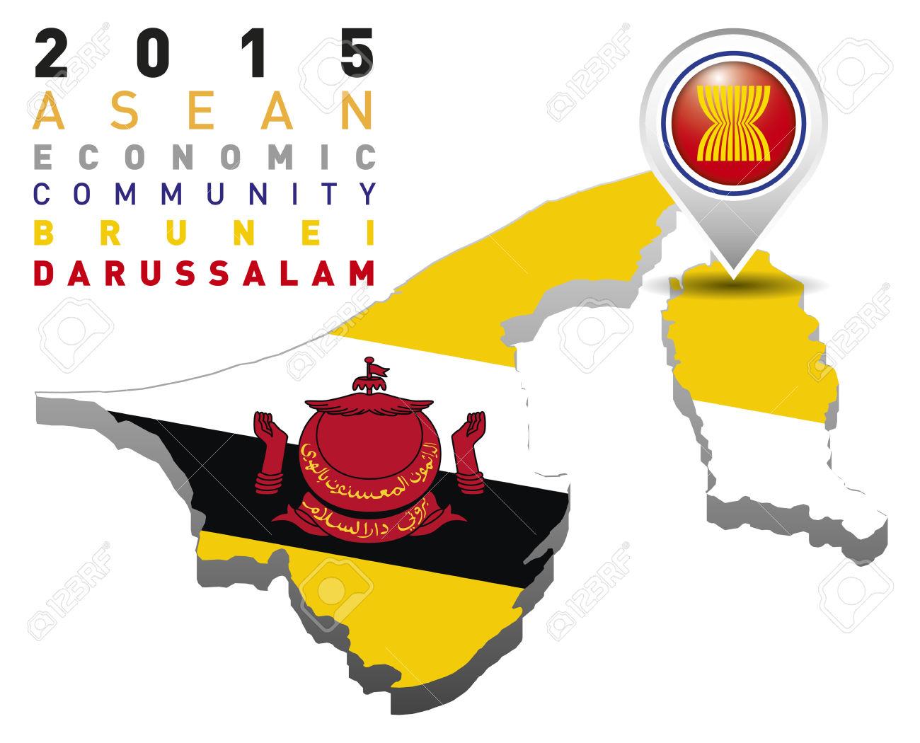 2015 Asean Economic Community Brunei Darussalam Royalty Free.