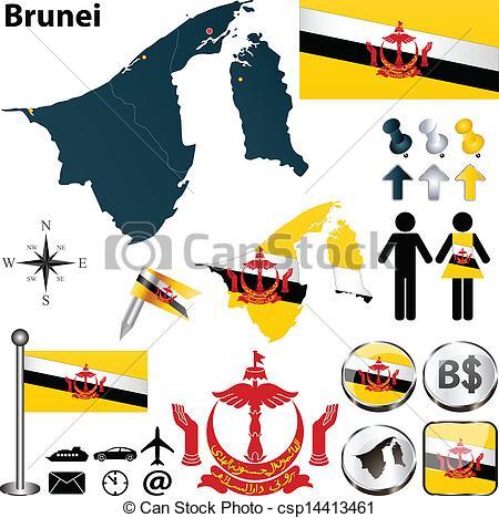 Clip Art Vector of Map of Brunei.