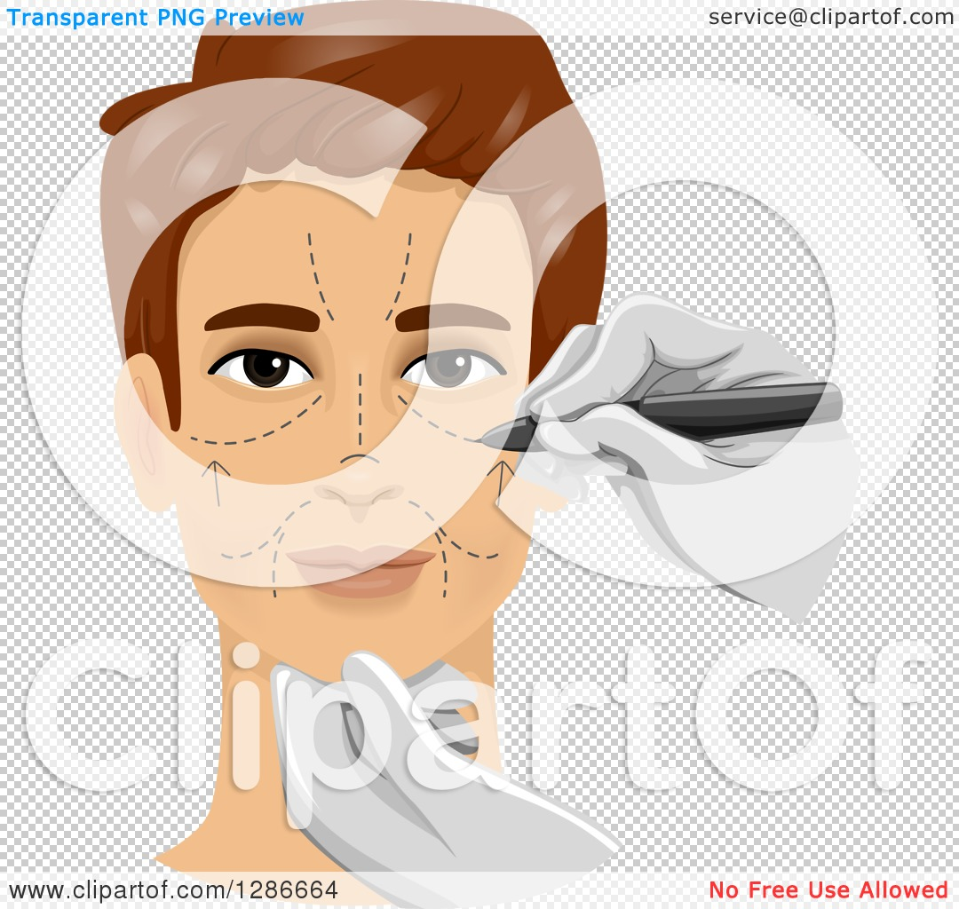 Clipart of a Brunette White Man Getting Marks on His Face in.