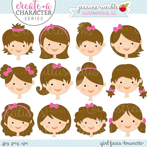Brunette Girl Faces Create A Character Series Cute Digital.