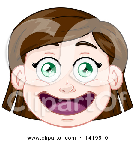 Clipart of a Happy Brunette, Green Eyed Caucasian Girl's Face.