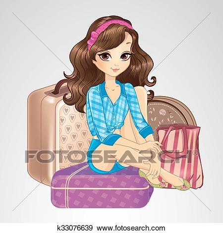 Brunette Girl Sitting On Suitcases Clip Art.