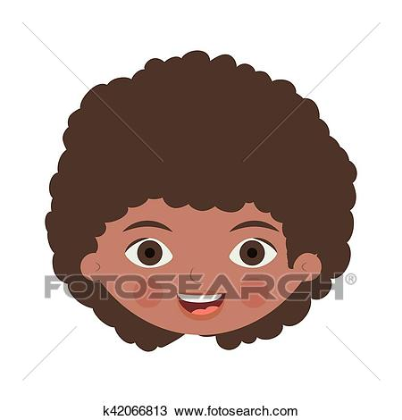 Front face brunette girl with curly hair Clipart.