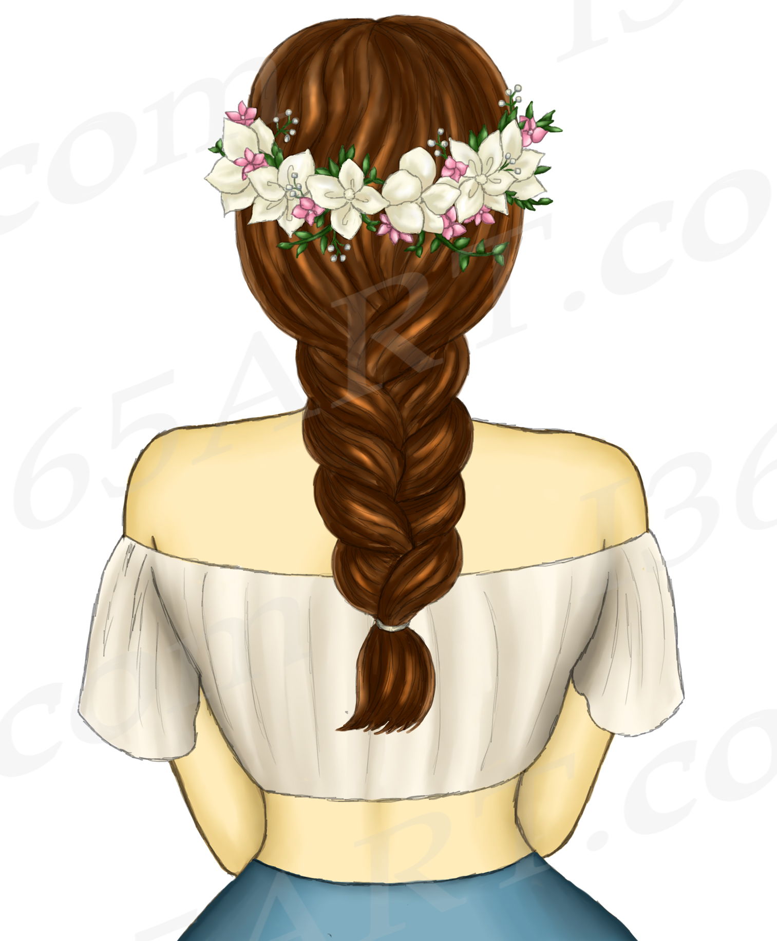 Boho Brunette Girls Fashion Clipart, Flower Wreath Spring.