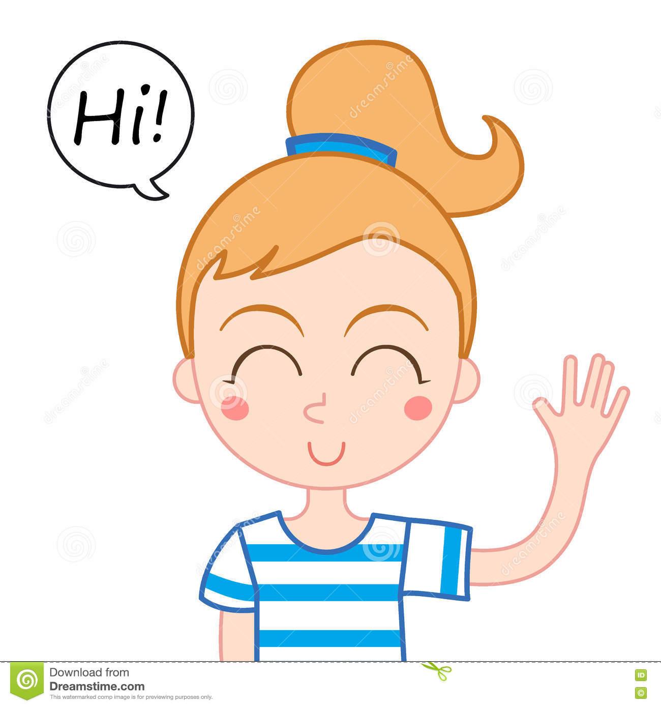 Girl Waving Hi Clipart.