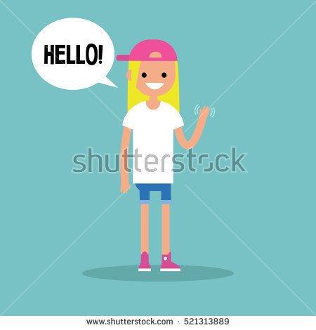 Brunette girl waving hi clipart.