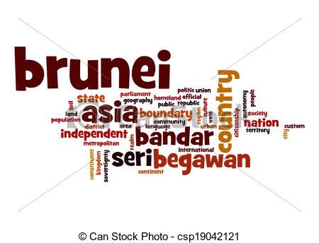 Clip Art of Brunei word cloud csp19042121.