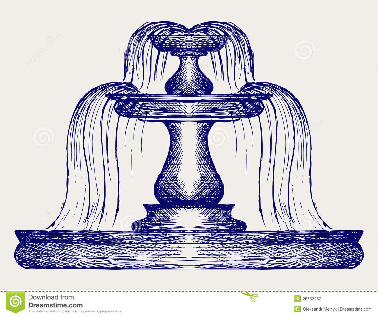 Brunnen. Gekritzelart Stockfotografie.