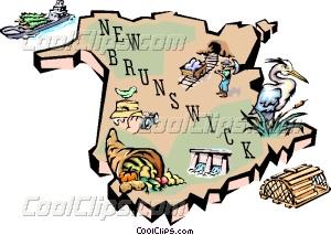 New Brunswick map Vector Clip art.