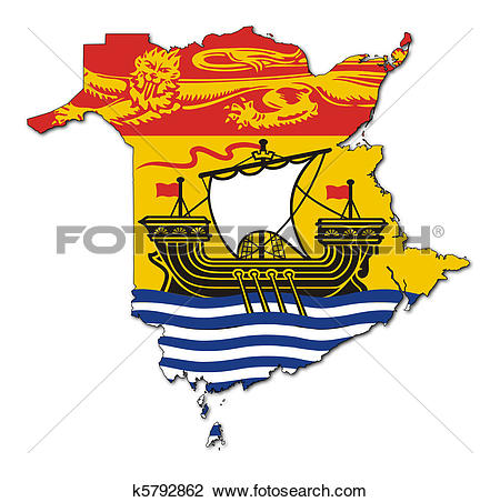 Clip Art of New Brunswick map flag k5792862.
