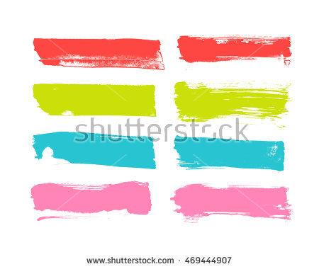 Rainbow Vector Brush Strokes Collection Stock Vector 110416679.