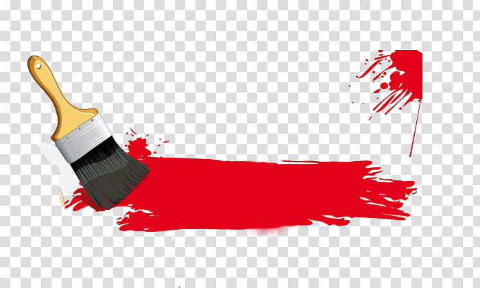 Red paint with brush transparent background PNG clipart.