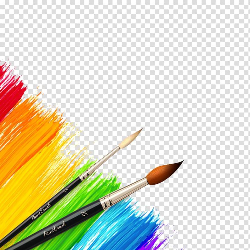 Black paint brushes illustration, Paintbrush Color.