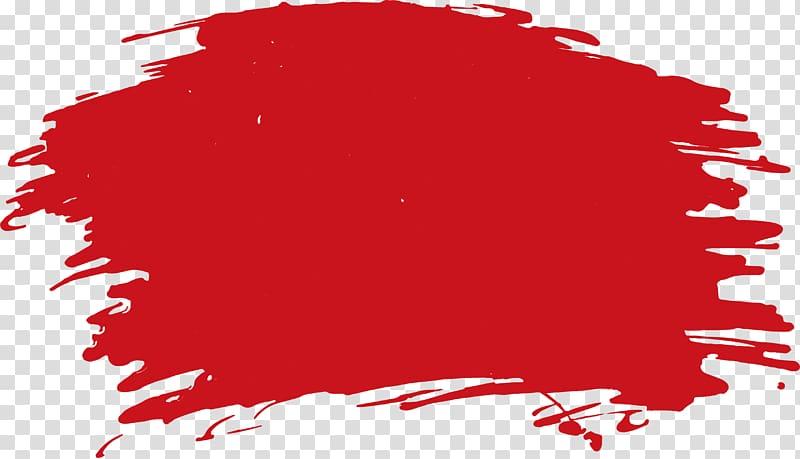 Paintbrush Watercolor painting, Red paint brush transparent.