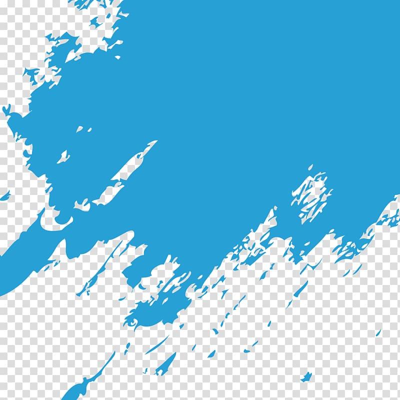 Blue background, Blue Paintbrush, Blue paint brush marks transparent.
