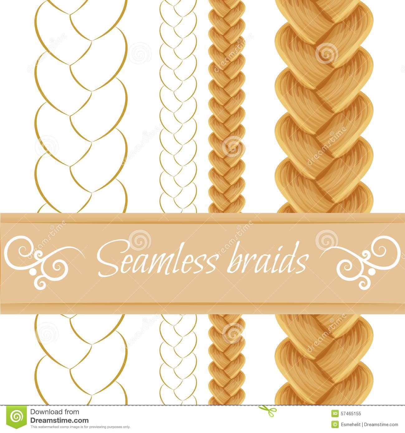 Hair Braided On White. Seamless Three Stock Vector.
