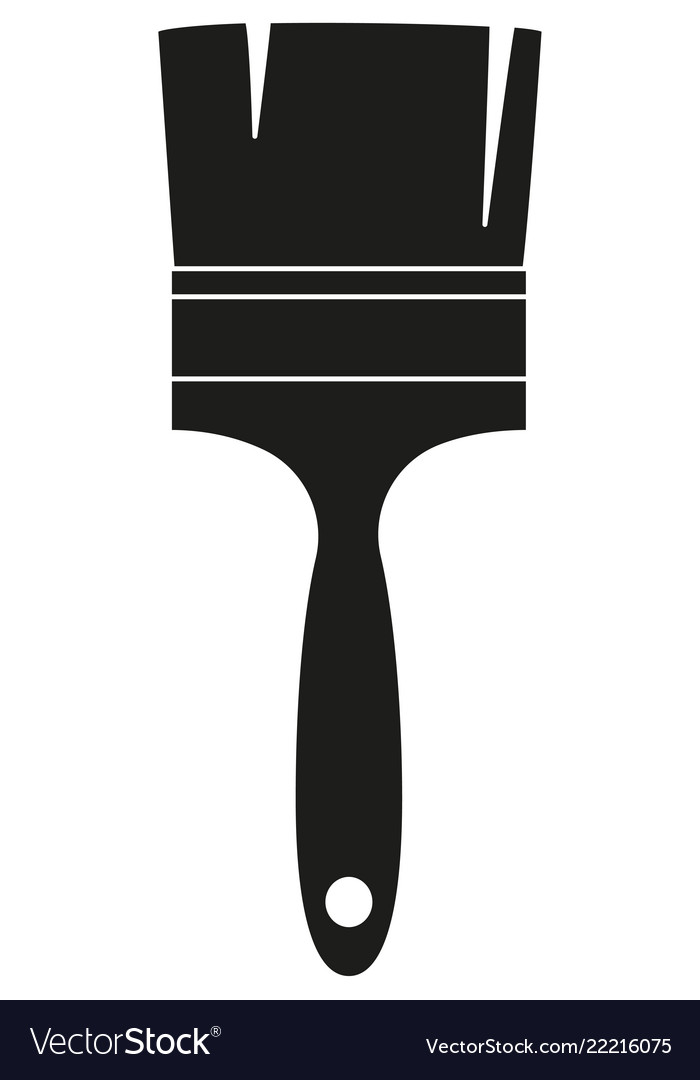 Black and white paint brush silhouette.