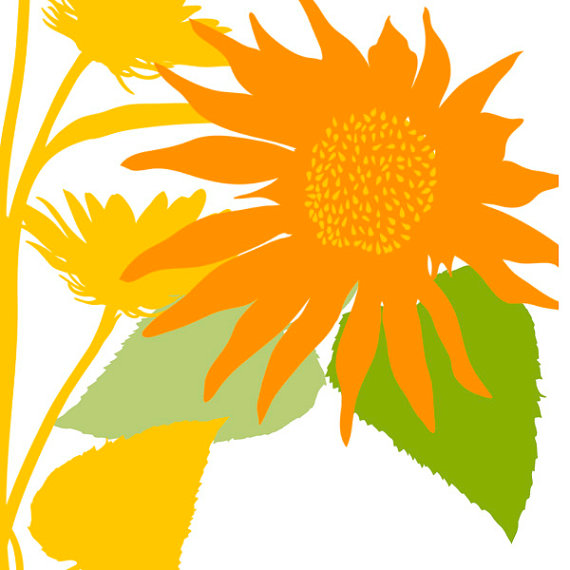 SunFlower Clip Art Silhouettes Summer Sun Flower by FishScraps.