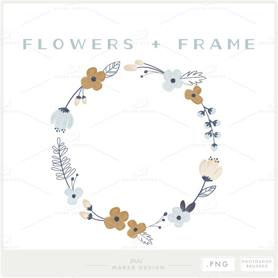 Floral Frame PNG Files Photoshop Brush Photo Overlay.