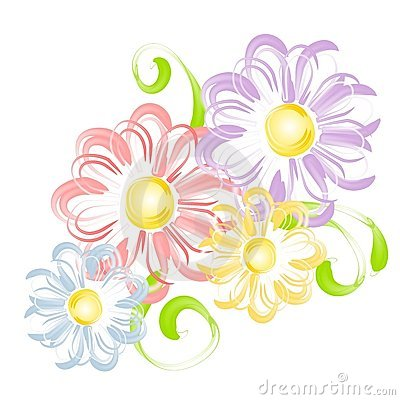 Spring Flowers In Pen Brush Clip Art Stock Photography.