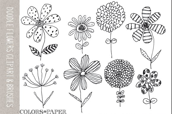 8 Doodle Flowers Clipart & Brushes ~ Illustrations on Creative Market.