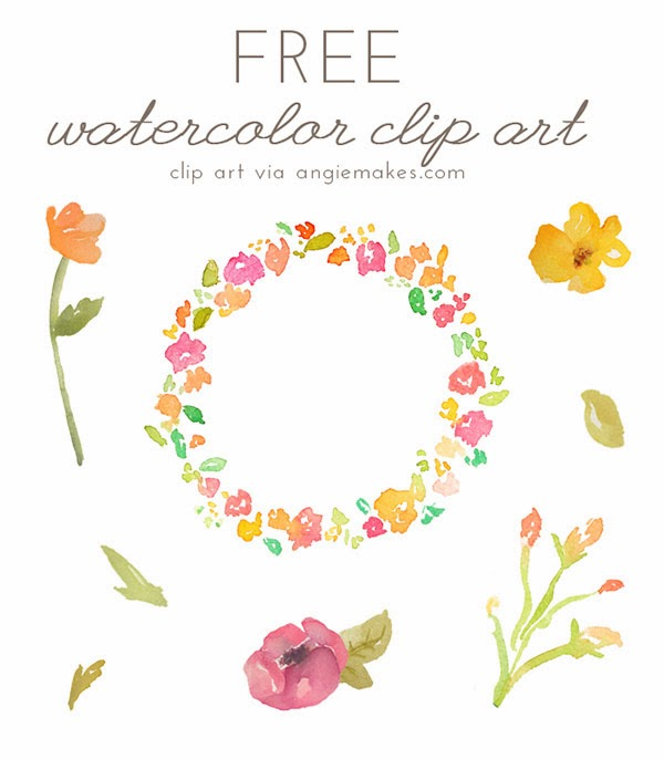 free, clip art, watercolor, floral, floral wreath, flowers clipart.