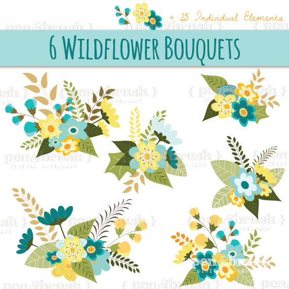 Flower Bouquet Clip Art // Floral Arrangement // Vector EPS.