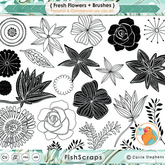 Fresh Flower ClipArt, Rose LineArt, Hand Drawn Flower Outline.