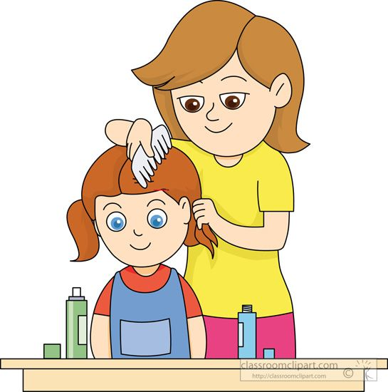 Comb Hair Clipart Mother Combing Daughters Hair.