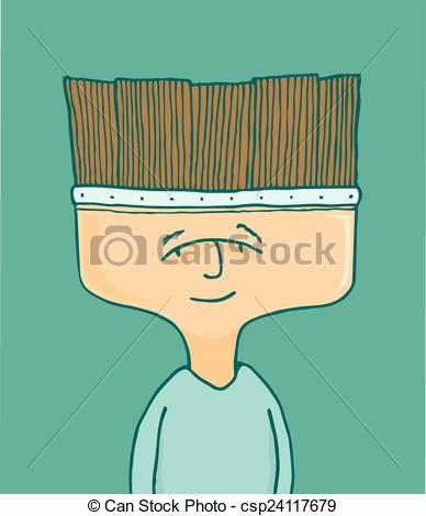 Vectors Illustration of Man or painter artist with brush head.