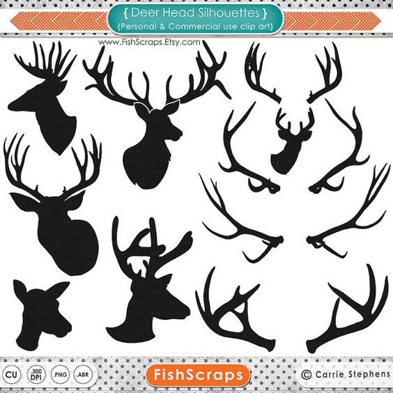 Deer Head Silhouette Clip Art + Line Art Outline, Buck & Doe.