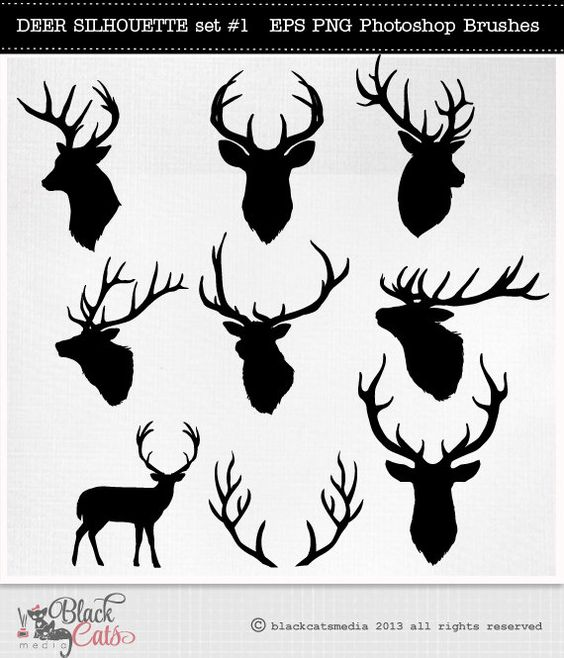 Deer Head Silhouettes.