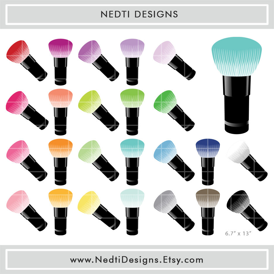 24 Makeup Brush Clipart Set 2 Rainbow Color Clip by NedtiDesigns.