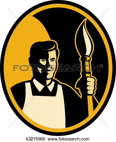 Stock Illustration of Male Artist holding brush that looks like a.