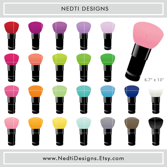 24 Makeup Brush Clipart Set 1 Colorful Make Up by NedtiDesigns.