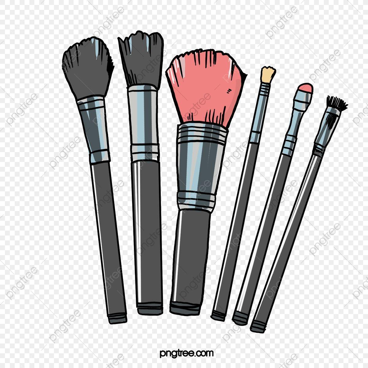 Hand Painted Makeup Brush Brush Effect, Makeup Clipart.
