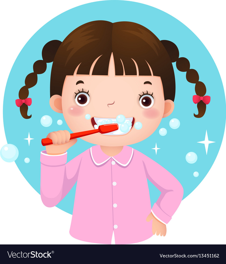 Cute girl brushing her teeth.