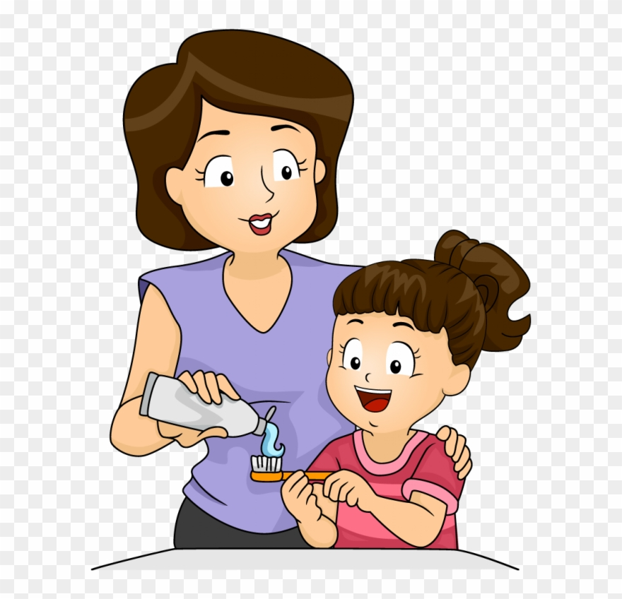 Download Mother And Kid Brushing Teeth Clipart Tooth.