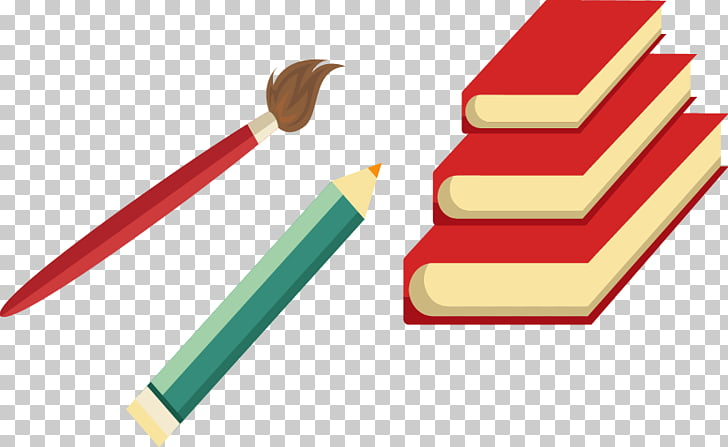 Euclidean , Painted red pencil brush pattern books PNG.