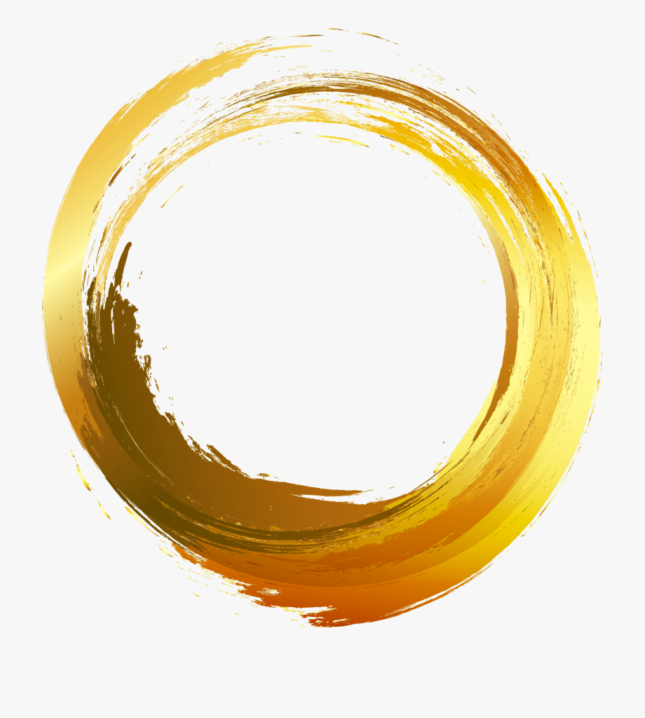 Gold Painted Vector Brush Ink Circle Painting Clipart.